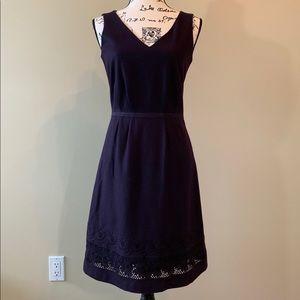 British Wool Purple Embroidery Pinafore Dress